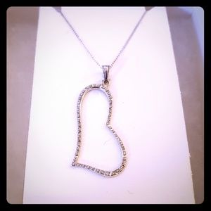 Diamond and silver heart necklace